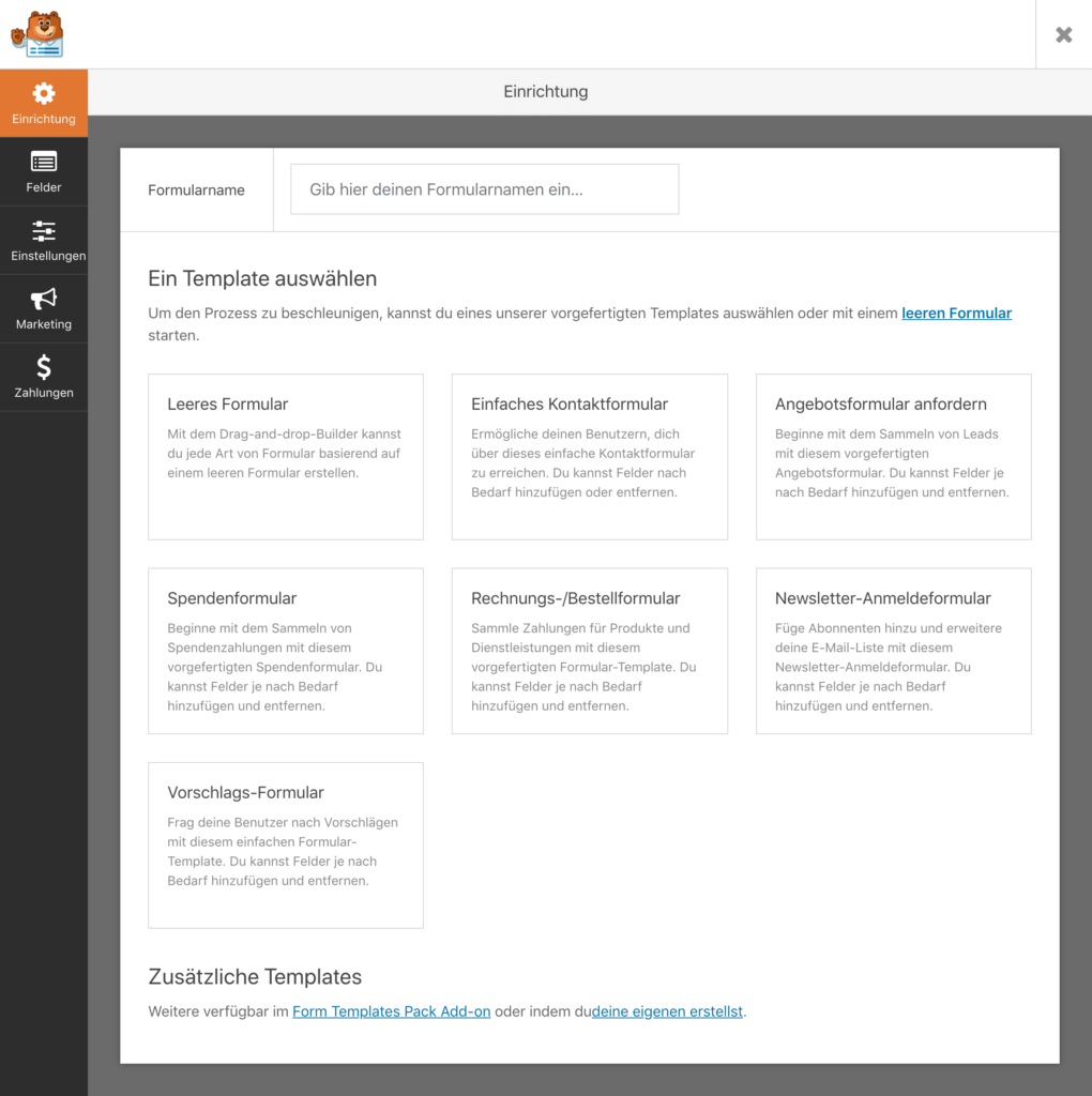 WPForms Screenshot Template Auswahl