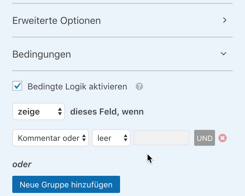 WPForms Screenshot Bedingungen